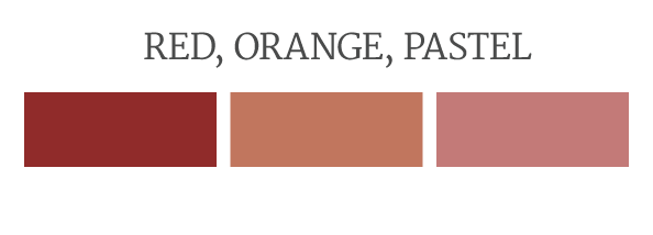 Red, orange and pastel commercial brick colors.